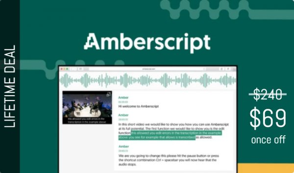 Buy Software Apps Amberscript Lifetime Deal header
