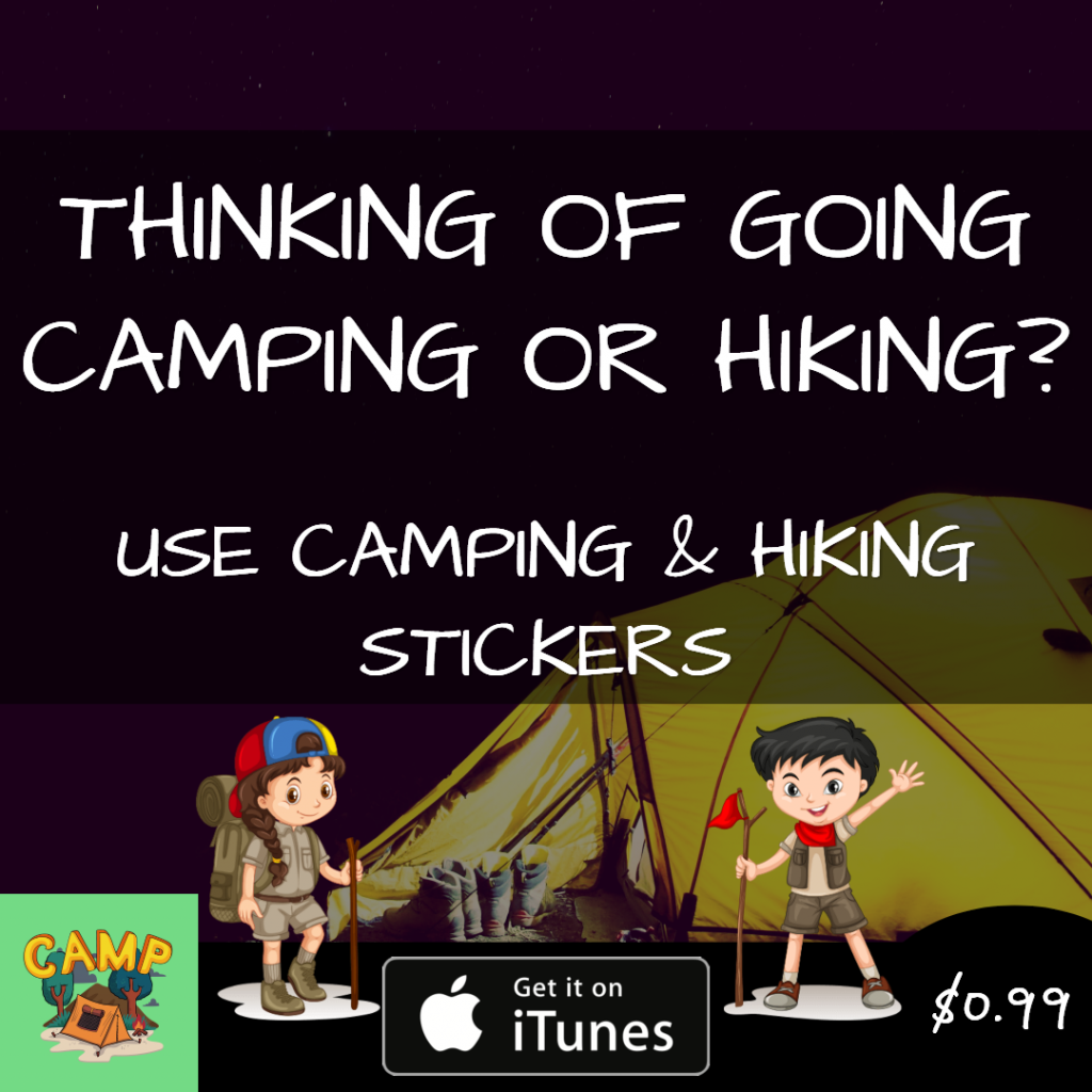 camping and hiking stickers banner